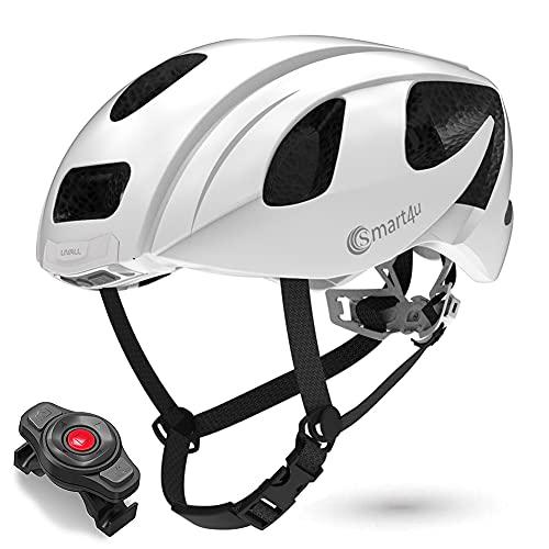 Smart4u Smart Helmet with LED Taillight & Turn Indicators, SOS Alert, Bluetooth Phone One Button Answer Bike Helmet, Certified Comfortable Cycling Helmet-SH55M
