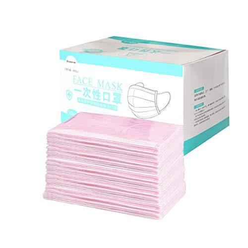 Beautynie 50 Stück Einmal-Mundschutz Rosa, Staubschutz Atmungsaktive Mundbedeckung, Erwachsene, Bandana Face Cover Sommerschal (Rosa)