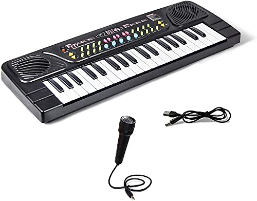 OM AKSHAR Kids Piano Keyboard, Piano for Kids with Microphone Portable Electronic Keyboards for Beginners 37 Keys Musical Toys Pianos