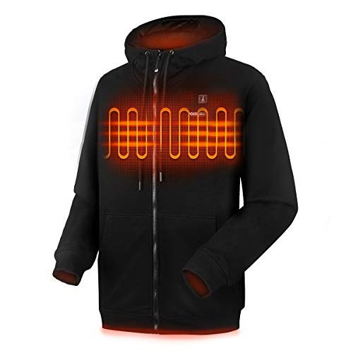 CLIMIX Heated Hoodie for Men Women, Lightweight Heated Sweatshirt with Battery Pack (Unisex) (XXL, Black)