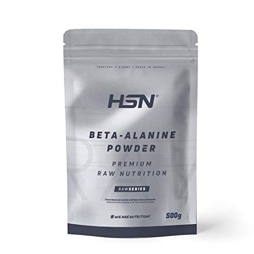 Beta Alanina en polvo de HSN | Suplemento para Mejorar Rendimiento Deportivo | 100% Pura, Ideal para Esfuerzos de Alta Intensidad | Vegano, Sin Gluten, Sin Lactosa, Sin Sabor, 500g