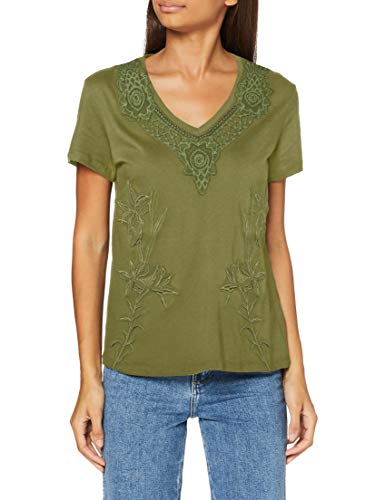 Desigual TS_RODAS Camiseta, Verde, XS para Mujer