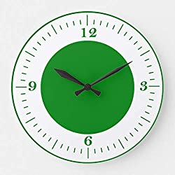 McC538arthy 12 Inch Silent Wooden Wall Clock GreenClock Large Clock for The Kitchen, Living Room, Bedroom,Office