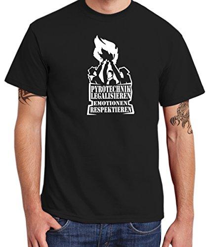 - Pyrotechnik legalisieren - Boys T-Shirt Schwarz mit weißem Aufdruck, Größe L Sale W
