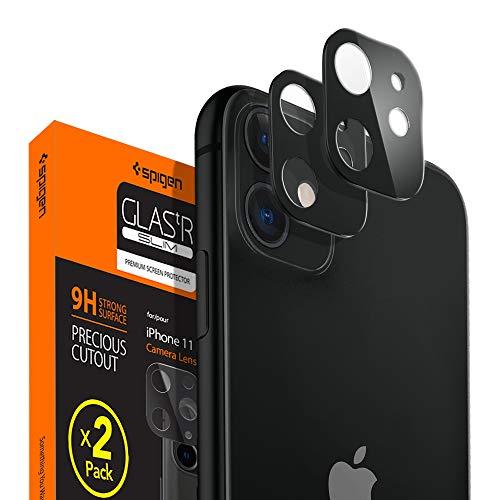 Spigen 【ブラック 2枚】 iPhone 11 カメラフィルム 日本旭硝子製 レンズ保護ガラスフィルム iPhone11 カメ...