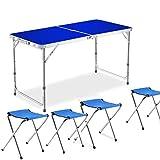 Mesa de picnic plegable para 4 personas con silla Mesa de picnic para exterior Mesa de camping plegable ajustable con 4 sillas,Blue