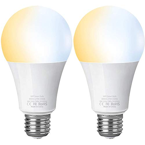 Alexa Smart Lampe LED 2700K-6500K AISIRER WLAN Glühbirnen E27 9W 800LM Birne Kompatibel mit Amazon Alexa Echo, Echo Dot, Google Home, Dimmbar Warmweißes-Kaltweiß Licht Kein Hub Erforderlich 2 Stück