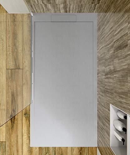 VAROBATH - Plato de ducha de Resina SYSTEM - Color Grafito - Carga Mineral - Textura de pizarra, antideslizante y antibacteriano. Fabricado en España. (100x200)