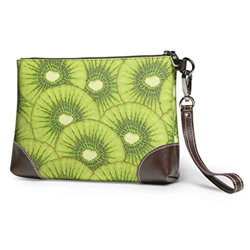 Hdadwy Wristlet Handtasche Reife Kiwi Fruchtscheibe Leder Wristlet Clutch Brieftasche Für Frauen Brieftasche Geldbörse Für Frauen Smartphone Wristlet Geldbörse