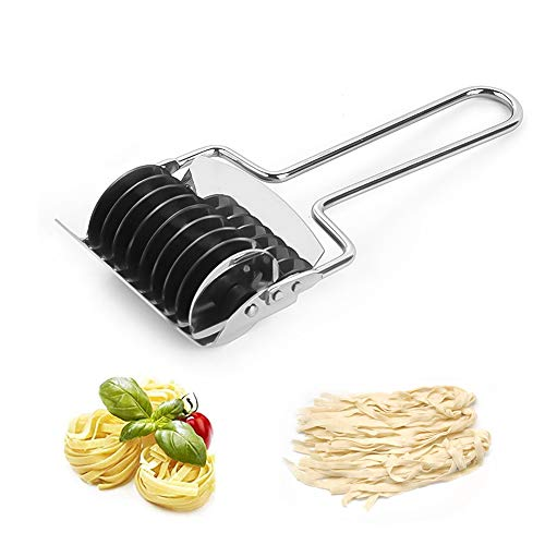Máquina para Hacer Pasta,Cortador de Fideos de Acero Inoxidable,Máquina de Pasta Manual,Máquina de Espagueti para Pasta,Cortador de Pasta de Espagueti,para Fideos,Cebolla Verde,Jengibre(Plateado)