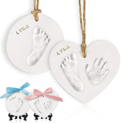 Baby Handprint Footprint Ornament Keepsake Kit - Newborn Imprint Ornament Kit For Baby Girl, Boy - Personalized New Baby Gifts For New Parents - Hand Print Christmas Ornament Kit