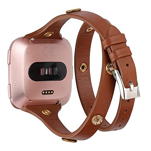 Glebo Pulsera de piel compatible con Versa 2/Versa/Versa Lite Edition para mujer,fina pulsera de doble lazo con remaches brillantes, pulsera de repuesto para reloj inteligente Versa,marrón oscuro