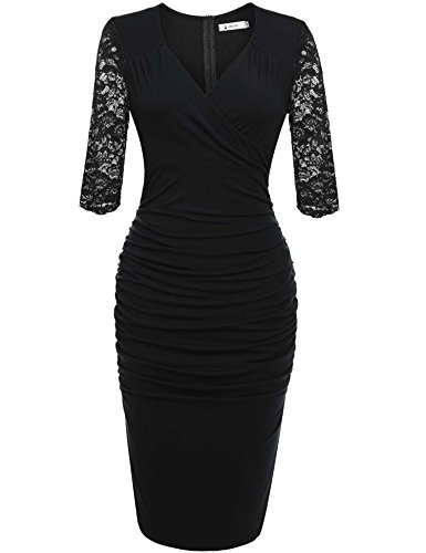 ANGVNS Women's Official V-Neck Retro Cap Sleeve Fitted Business Cocktail Prom Dress(Black,L)