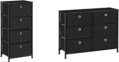 """SONGMICS 4-Tier Dresser Units Storage Cabinet with 4 Easy Pull Fabric Drawers, 17.7"""", Black & Storage Drawer Units, 31.5"""", Black"""