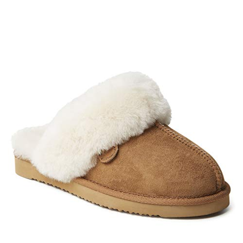 Dearfoams Women's Fireside Water Resistent Sydney Shearling Scuff Slipper, Chestnut, 8