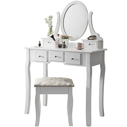 Royal Dressing Tables Sienna | Lot Coiffeuse, Miroir et Tabouret | Style Shabby Chic | Coiffeuse pour Chambre | Vanity