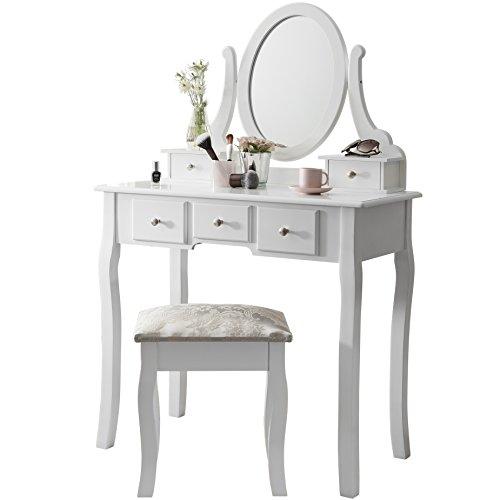 Set de tocador con espejo y taburete, Blanco, Dimensions (L*W*H): 80 x 40 x 137 cm