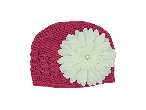 Jamie Rae Hats – Raspberry Crochet Hat with White Daisy, Size: 0-3M