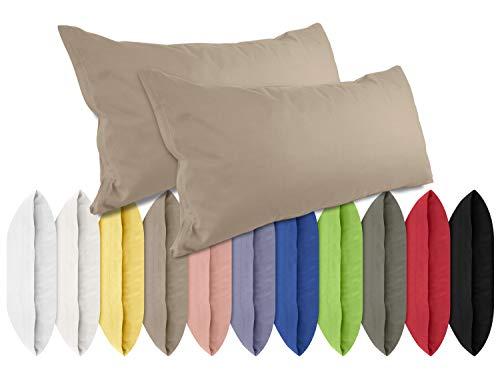 Renforcé-Kissenbezüge im Doppelpack - 100% Baumwolle – schlicht und edel im Design, in 11 Uni-Farben, 40 x 80 cm, Cappuccino