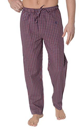 El Búho Nocturno Pyjamahose, locker, für Herren, Pyjamahose, Übergangszeit, klassisch, gestreift oder kariert, Schlafkleidung für Herren, Popeline, Baumwolle, Rot L
