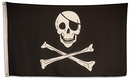 SCAMODA Party-, Freizeit- und Motiv-Flaggen aus wetterfestem Material, Outdoor-Fahne (Piraten-Totenkopf) 150x90cm