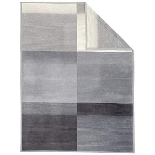 Ibena Granada Decke 150x200 cm – Kuscheldecke grau dunkelgrau, pflegeleichte und kuschelweiche Baumwollmischdecke mit tollem Karomuster