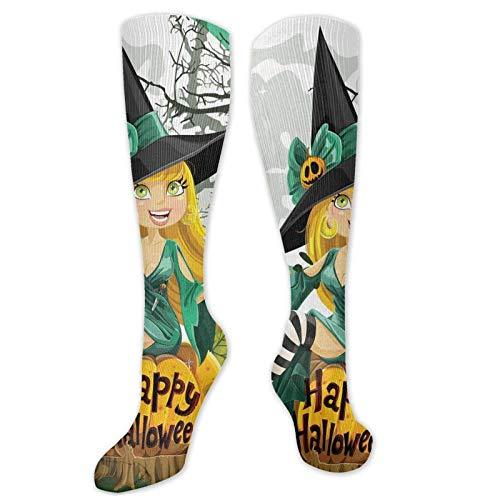 Calcetines divertidos para hombre y mujer, con diseo de chica sonriente, alegre y sonriente, para disfraz de Halloween en una calabaza, luna gigante, bosque, calcetines de vestir