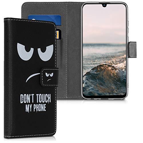 kwmobile Wallet Hülle kompatibel mit Huawei P Smart (2019) - Hülle Kunstleder mit Kartenfächern Stand Don't Touch My Phone Weiß Schwarz