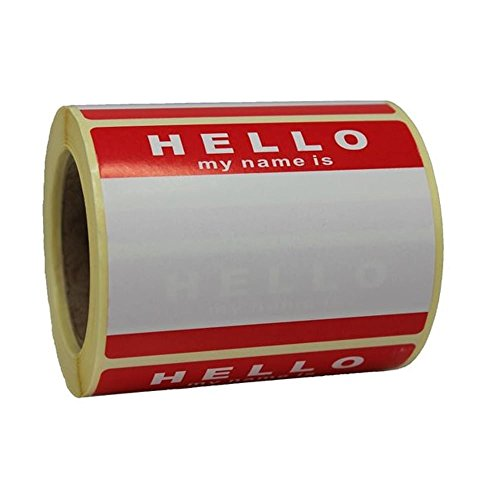 Roll of 250 'Hello My Name Is' Stickers Label Tags Red & White 8cm x 6cm No Logo