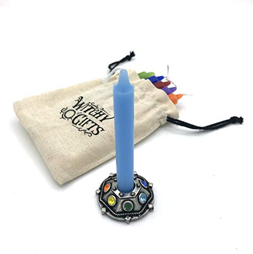 Witchy Gifts Chime Candle Holder with Chakra Stones and 7 Chakra Colors Spell Candles in Cotton Gift Bag for Altar, Witchcraft, Wicca, Spells, Magick