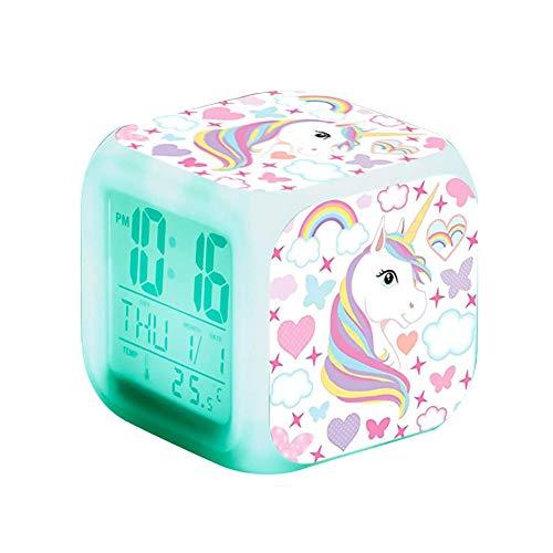 Ototon Réveil Numérique Licorne pour Enfants Multicolore Cube LED de Nuit Horloge de Chevet pour Enfants Cadeau Anniversaire