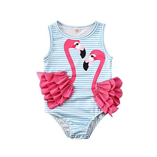 MAHUAOYIXI Traje de Baño de Una Pieza para Niña Pequeña Bañador a Rayas con Patrón de 3D Flamenco Rosa Ropa de Natación sin Mangas para Bebé (Azul, 3-4 años)