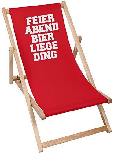 Coole-Fun-T-Shirts Feierabend Bier Liege Ding Relax Deck Chair Liegestuhl für Garten Terasse Balkon Wohnzimmer Büro Werkstatt Atelier zur Entspannung Schwarz Rot Dunkelblau Grau (ROT)