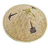 nJiaMe Retro China de bambú ratán Pescador Sombrero Hecho a Mano de la Armadura del Sombrero del Cubo Hueco Natural Fuera del Enrejado de bambú Cap Braid Pesca Parasol Sombrero