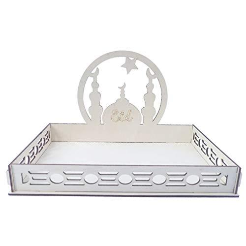 STOBOK Ramadan Eid Mubarak Tabletts Holz Sterne Mond Form Dekoratives Serviertablett Cupcake Ständer Tortenständer für Küche Obst Snack Gebäck Eid Party Tisch Dekoration Supplies