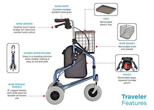 "NOVA Traveler 3 Wheel Rollator Walker, All Terrain 8"" Wheels, Includes Bag, Basket and Tray, Blue"