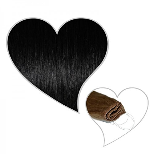GLOBAL EXTEND® Easy Flip Extensions in schwarz#01 50cm aus 100% Echthaar Halo Secret Haarverlängerung Haarverdichtung Real Human Hair Extensions