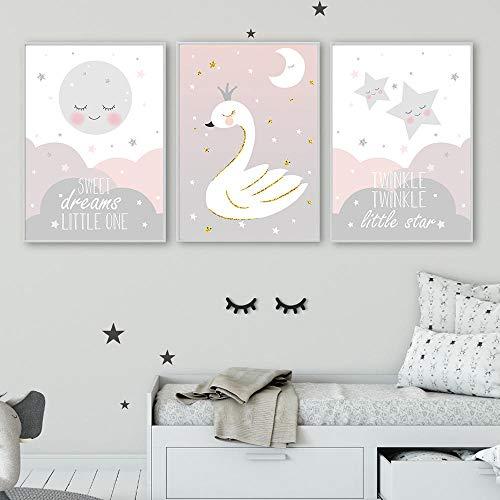 IGZAKER Baby Posters En Prints Babykamers Foto Schilderij Nordic Roze Foto Kawaii Poster Kwekerij Wall Art Canvas Prints-60x80cmx3pcs geen frame