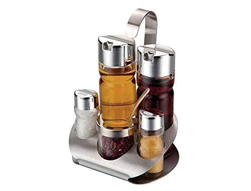 Juego de vinagreras de Vidrio con Soporte Dispensador de vinagre de Aceite Salero y pimentero Botellas Juego de Servir Mesa de Picnic Soporte para Servidor de condimentos 5 Piezas YangYM