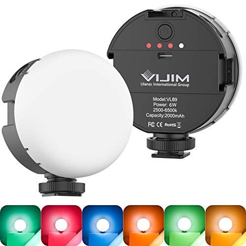 Luz de Video LED, Vl69 Lámpara de Video con Batería incorporada Recargable, Luz de Cámara Regulable 2500K-6500K Temperatura de Color, Luz de Fotografía para Smartphone Camera Youtube de Vídeo Vlog
