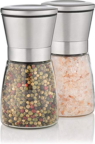 2er Pfeffermühlen Glas, Salzmühlen Salz- & Pfefferstreuer Gewürzmühlen Gewürzstreuer Gewürzgläser, aus Glas & Edelstahl 304 , mit Deckel, 13.5 cm