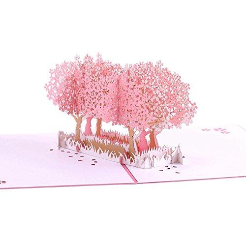ADECALS Cherry Blossom 3D Pop Up Karte Grußkarte, 3D Karten, Geburtstag Pop Up Karten, Dankeskarten, Grußkarten, Trauerkarte, Frühlingskarte