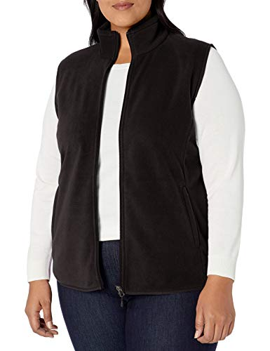 Amazon Essentials Plus Size Full-Zip Polar Fleece Vest Outerwear-Vests, Negro,...
