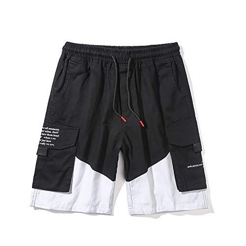 Pantalones Cortos para Hombre Pantalones Cortos Deportivos para Hombre Pantalones de Hombre Pantalones Cortos de Fitness algodón con Cordón y Cremallera para Los Bolsillos (Blanco & Negro, XL)