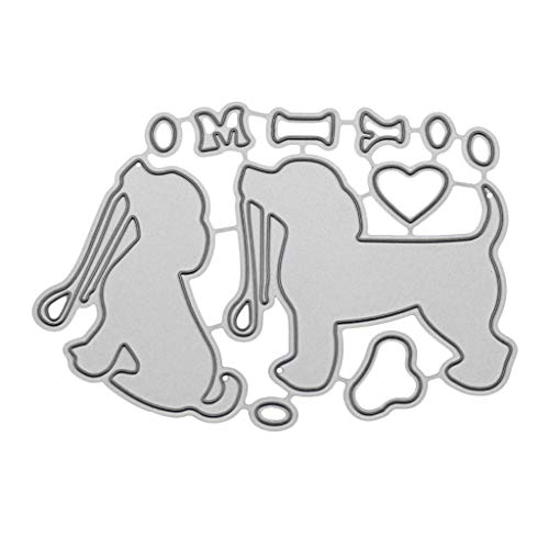 qiuxiaoaa Cute Dog Metal Cutting Dies Stencil DIY Scrapbooking Album Stamp Paper Card Embossing Craft Decor Cutting Die Silver