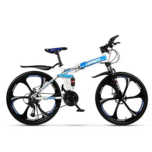 ZLZNX 26 Pollici Pieghevole Mountain Bike, Cruiser Bicycle, Alto tenore di Carbonio Acciaio Pieno Sospensione Frame con Doppio Disco velocità Freni,Blu,21Speed