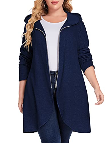 IN'VOLAND Women's Plus Size Long Zip up Fleece Hoodies Outerwear Jacket Oversize Tunic Sweatshirts Thick Coat with Pockets Navy Blue