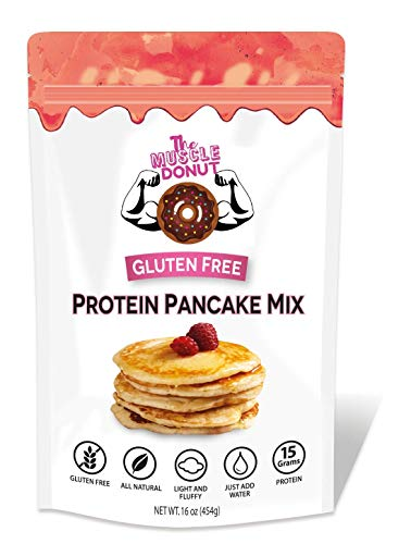 Gluten Free Protein Pancake & Waffle Mix By The Muscle Donut, Fluffy, Low Carb, Low Sugar, Gluten Free | All Natural, Big 16oz | For Muffins, Pancakes, Mug Cakes, Donuts | Just Add Water
