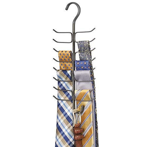 mDesign Colgadores de ropa que ahorran espacio – Organizador de armarios de metal con percha de 17 brazos y un gancho – Percha múltiple para pañuelos, mallas, corbatas y más – gris