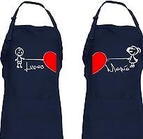 Didart Handmade Delantal cocina personalizado hombre mujer Regalo de boda, novios, parejas Modelo corazón grande. San...
